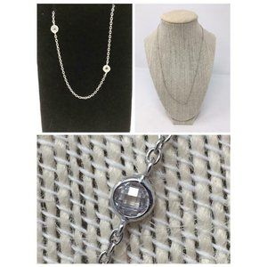 """9.25 Necklace 22"""" Cubic Zirconia Cable Chain"""
